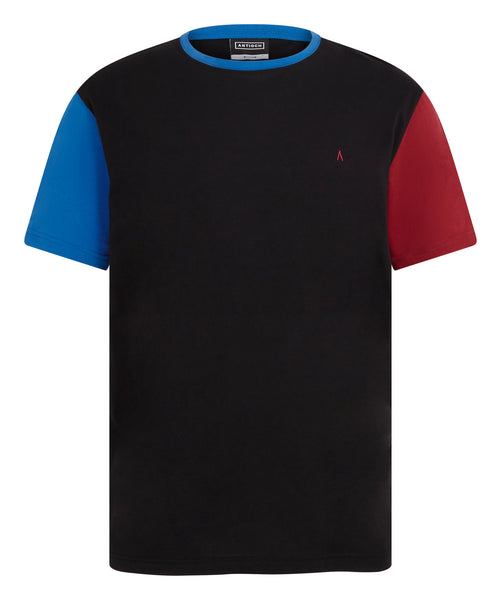ANTIOCH BLACK T-SHIRT WITH CONTRAST COLOUR SLEEVES