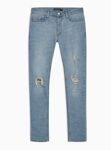 ANTIOCH LIGHT WASH SPRAY ON SKINNY JEANS WITH RIPS