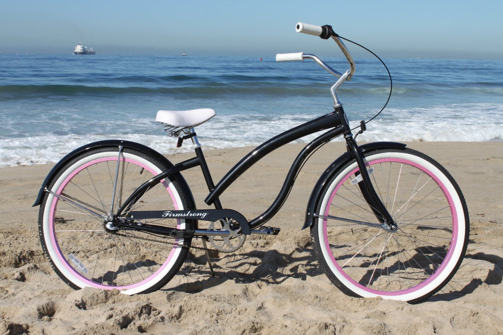 "26/"" Beach Cruiser Bike Firmstrong Bella Fashionista Lady Matt Black w purple rim"