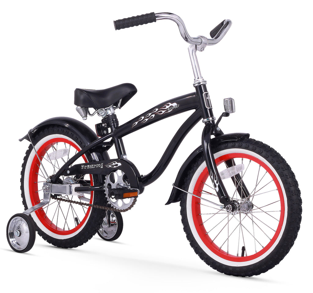 "Firmstrong Mini Bruiser 16"" Beach Cruiser Bicycle w/ Training Wheels, Black w/ Red Rims"