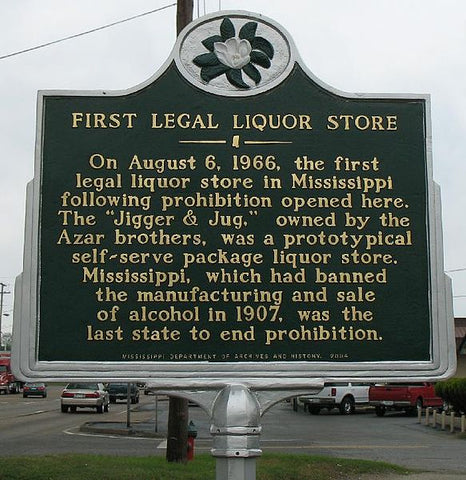 Sign announcing the opening of the first liquor store post Prohibition