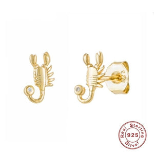 Real Silver Scorpion Earrings Gold Plated