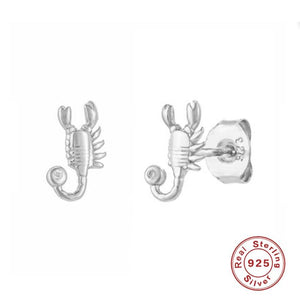Real Silver Scorpion Earrings Stud
