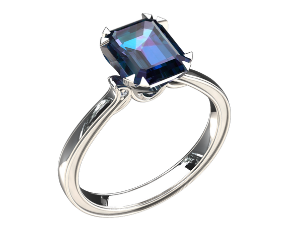 1.25 CARAT EMERALD CUT LAB GROWN ALEXANDRITE SOLITAIRE 14K GOLD RING STYLE#  W5A14K