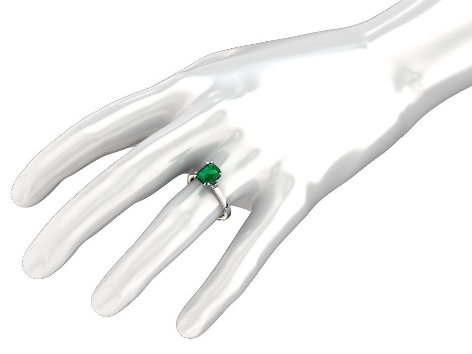 1.25 CARAT EMERALD CUT LAB GROWN EMERALD SOLITAIRE 14K GOLD RING STYLE# W5G14K