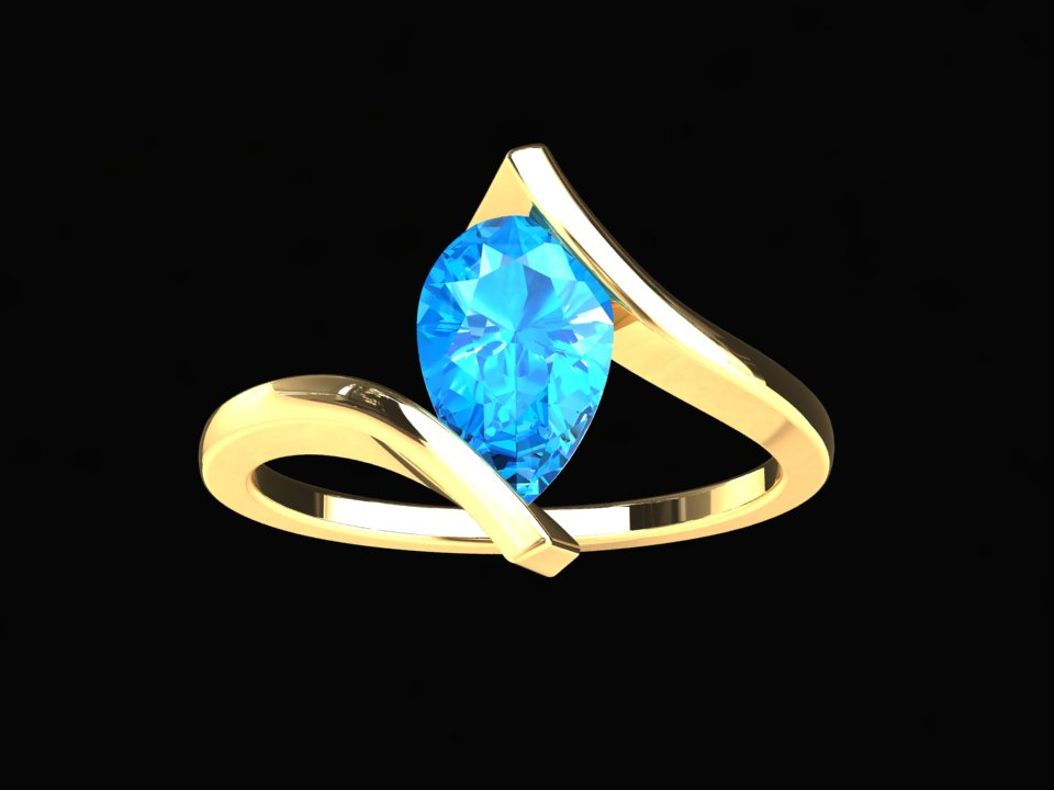 NATURAL PEAR SHAPE BLUE TOPAZ SOLITAIRE 14K GOLD RING STYLE# CF10BU214K