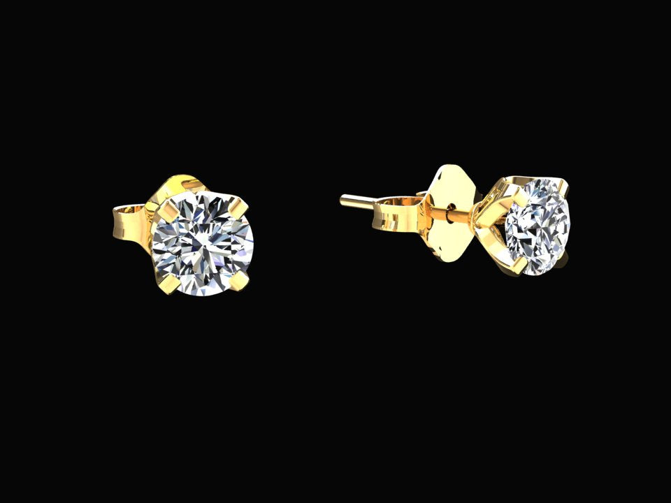 carat igi solitaire white earrings certified gold l round diamond stud