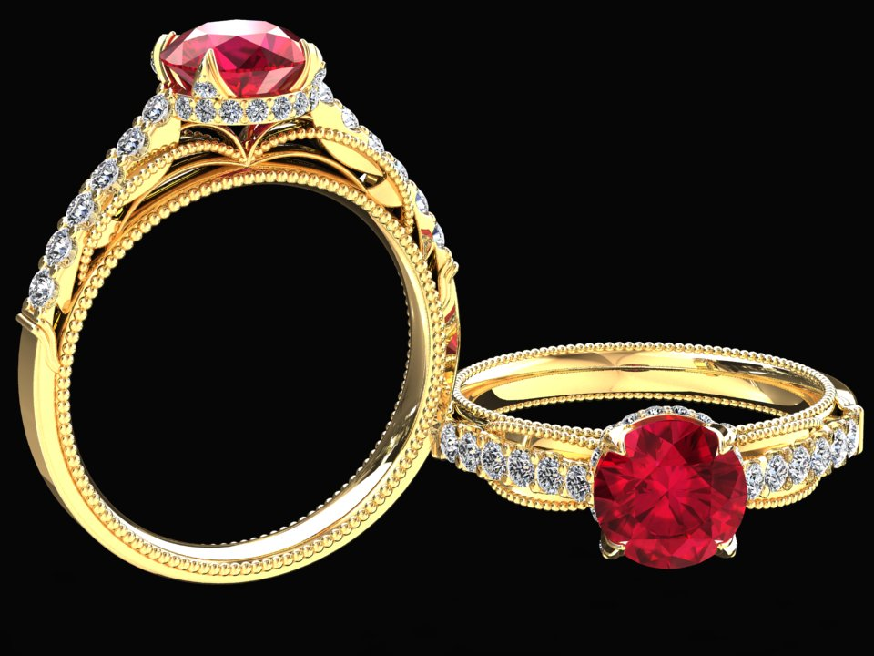 LAB GROWN 1.50 CARAT RUBY AND NATURAL DIAMOND RING STYLE# SJW2R14K