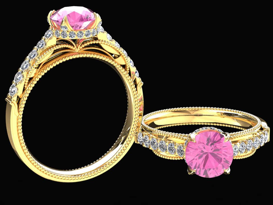 LAB GROWN 1.50 CARAT PINK SAPPHIRE AND NATURAL DIAMOND RING STYLE# SJW2P14K