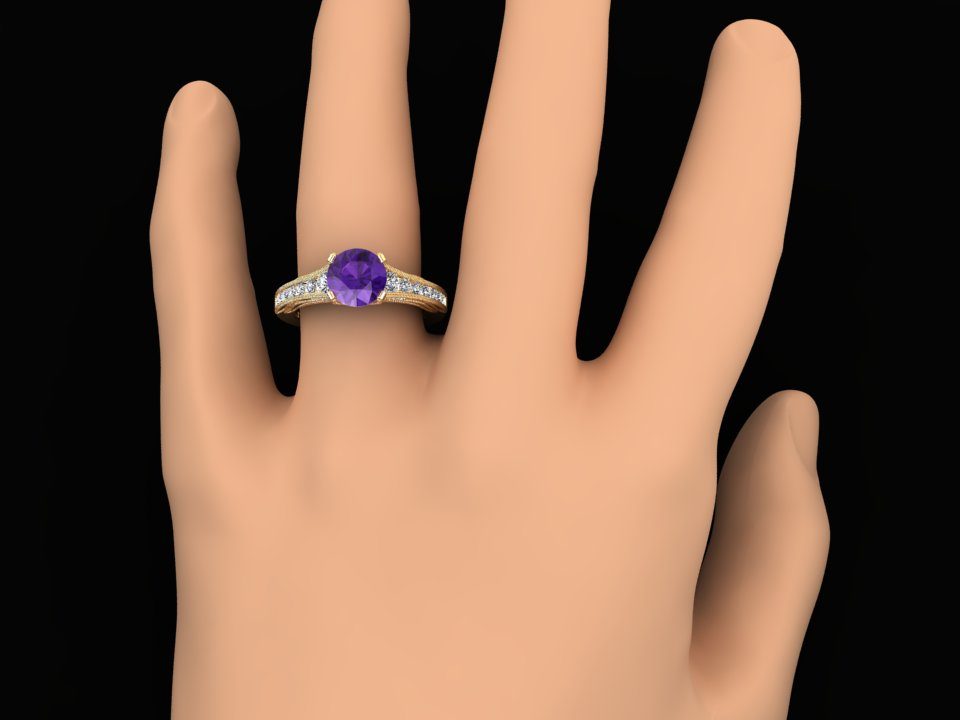 1.00 CARAT NATURAL AMETHYST AND DIAMOND VICTORIAN STYLE RING STYLE# CF11PU14K