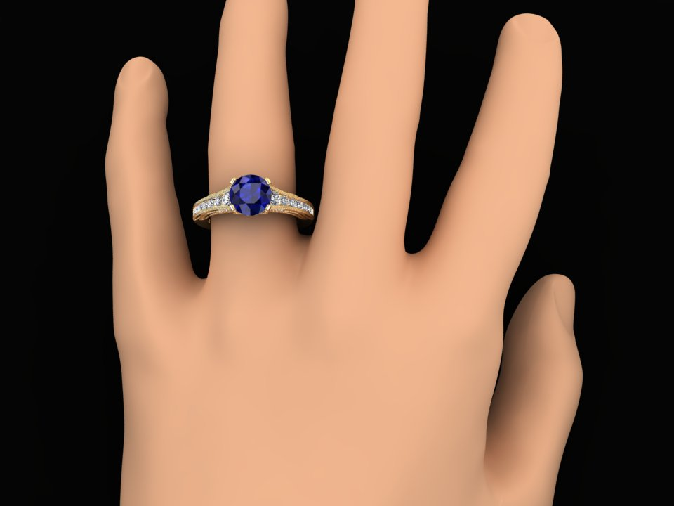 LAB GROWN 1.50 CARAT BLUE SAPPHIRE AND NATURAL DIAMOND VICTORIAN STYLE RING STYLE# CF11BU14K