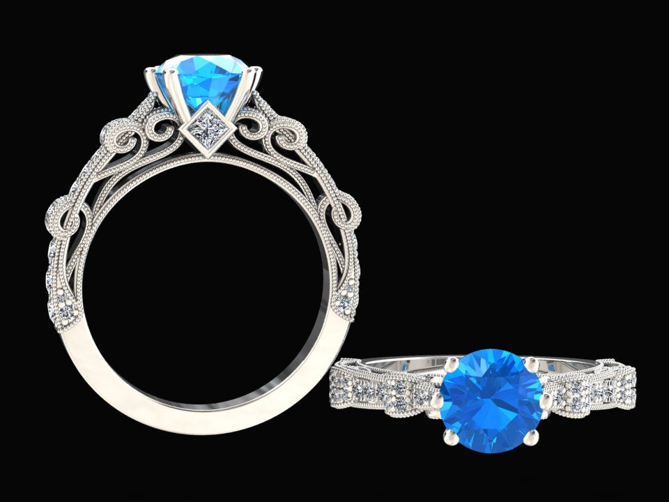1.00 CARAT NATURAL BLUE TOPAZ AND DIAMOND VICTORIAN STYLE RING STYLE# CF1BU214K