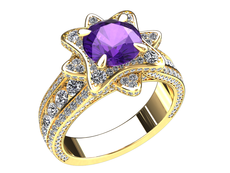 NATURAL AMETHYST AND DIAMOND RING STYLE# DH26PU14K