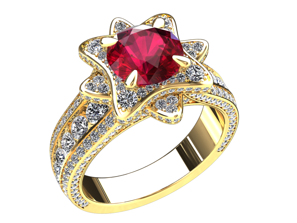 LAB GROWN 1.50 CARAT RUBY AND NATURAL DIAMOND RING STYLE# DH26R14K
