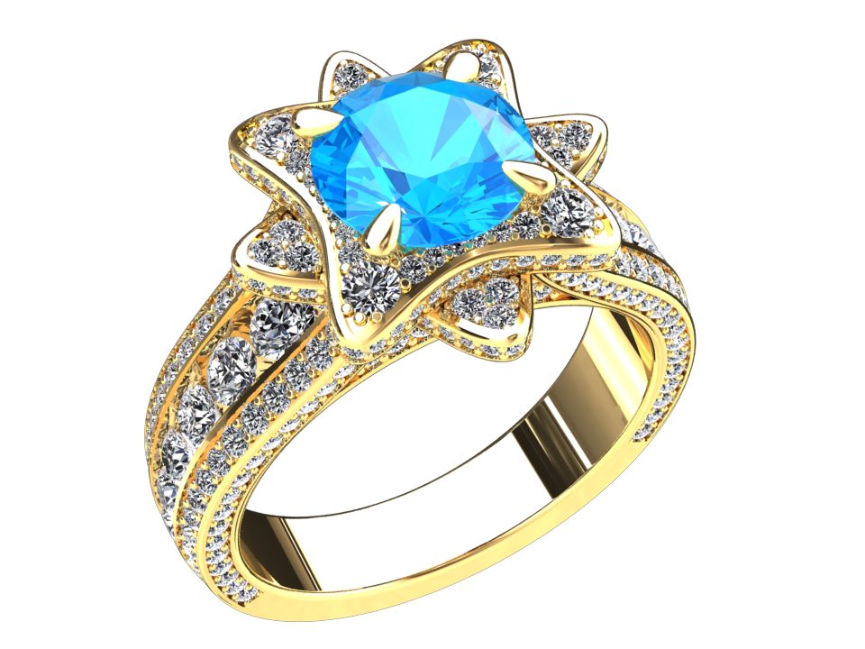 NATURAL BLUE TOPAZ AND DIAMOND RING STYLE# DH26BU214K