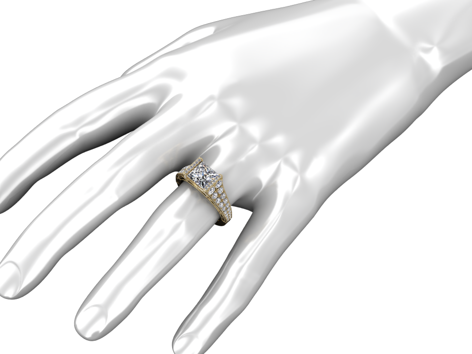 GIA CERTIFIED 1.50 CARAT DIAMOND 18K YELLOW GOLD RING STYLE# W25D18Y