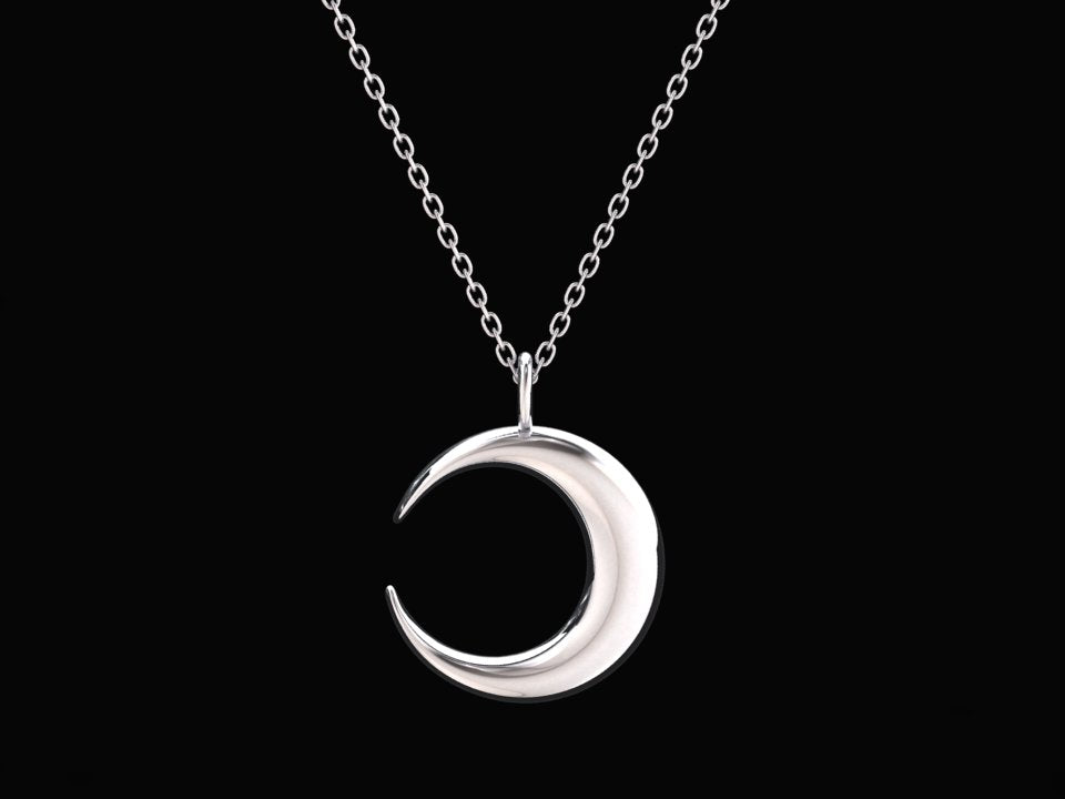 CRESCENT MOON NECKLACE IN STERLING SILVER STYLE# WFJ11SS