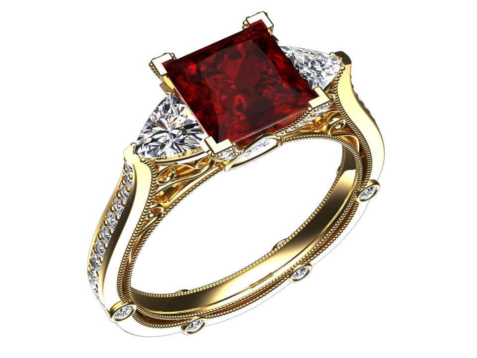 LAB GROWN 1.35 CARAT PRINCESS CUT RUBY THREE STONE RING STYLE# CF17R14K