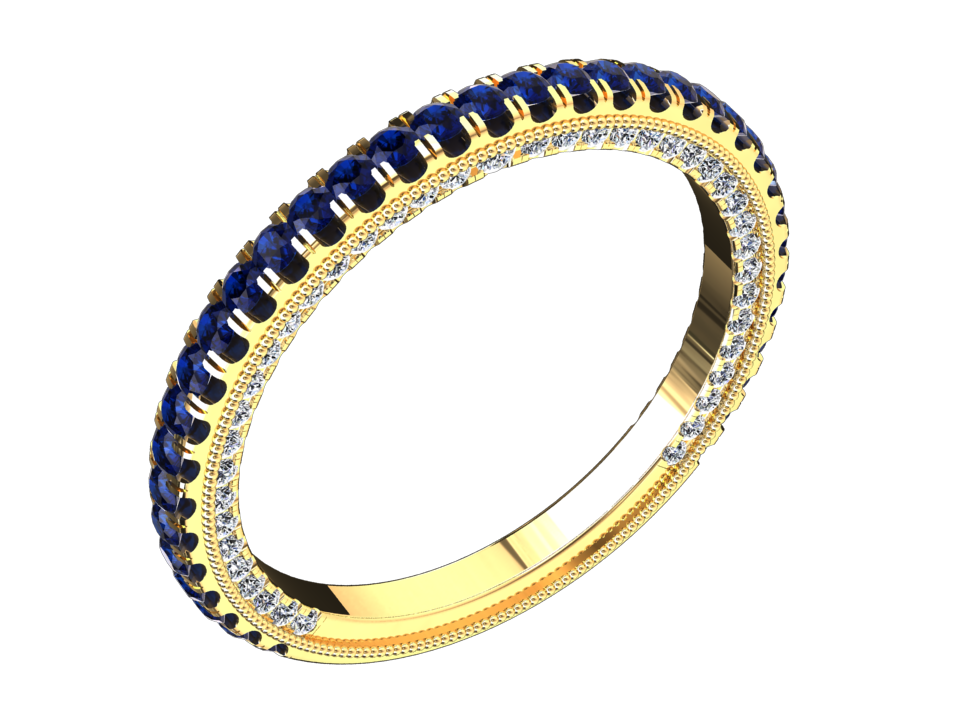 MODERN STYLE LAB GROWN BLUE SAPPHIRE AND DIAMOND RING 14K GOLD STYLE# VS2BANDBU14K