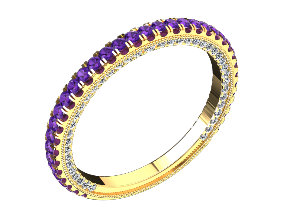 MODERN STYLE AMETHYST AND DIAMOND RING IN 14K GOLD STYLE# VS2BANDP14K