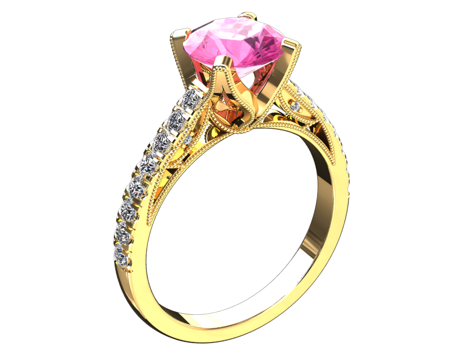 LAB GROWN 1.50 CARAT PINK SAPPHIRE AND NATURAL DIAMOND RING STYLE# W4P14K