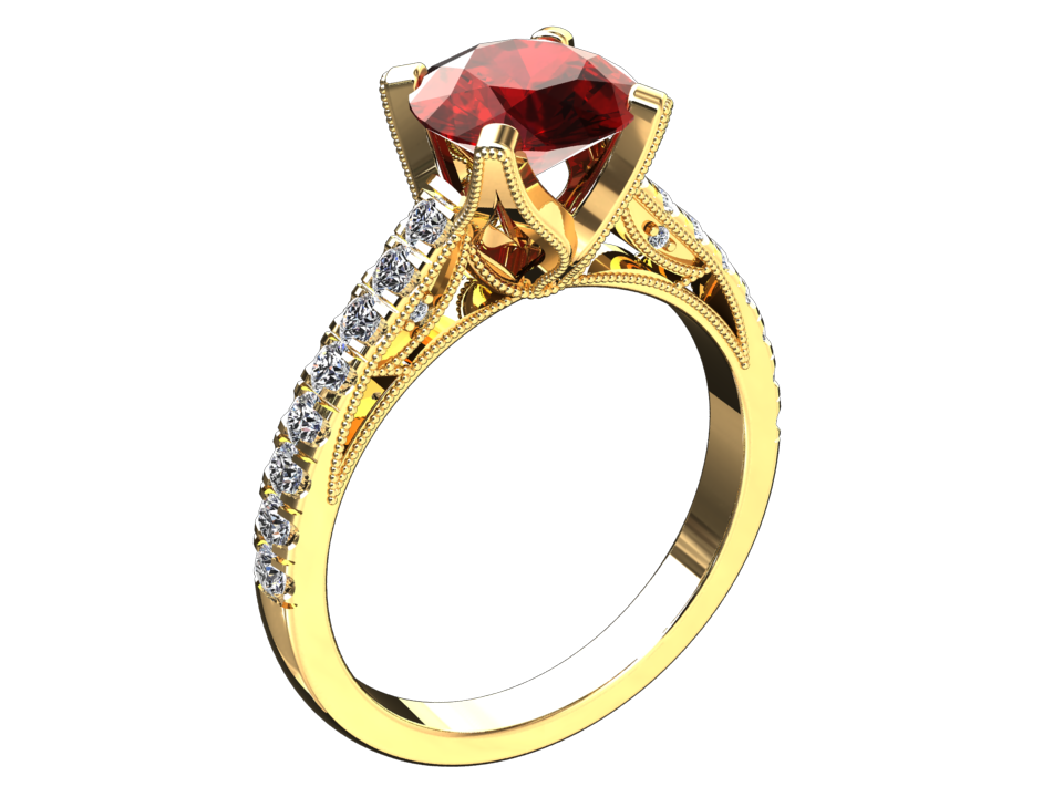 LAB GROWN 1.50 CARAT RUBY AND NATURAL DIAMOND RING STYLE# W4R14K