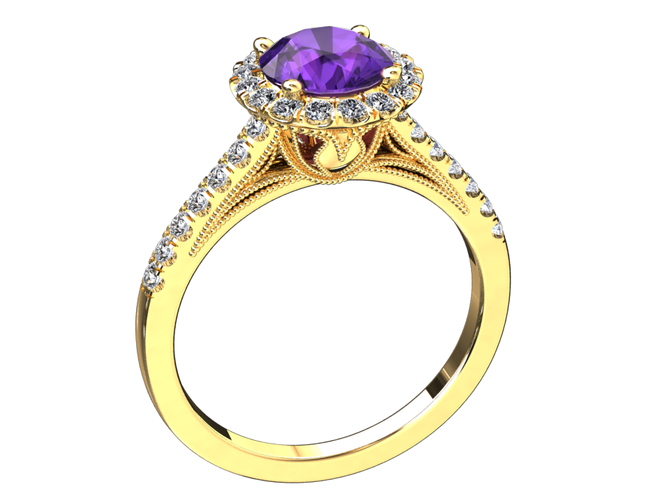 NATURAL AMETHYST AND DIAMOND RING STYLE# W9PU14K