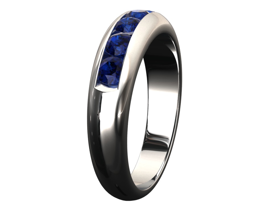 5MM WIDE CHANNEL SET LAB GROWN BLUE SAPPHIRE RING 14K GOLD STYLE# WR1BU14K