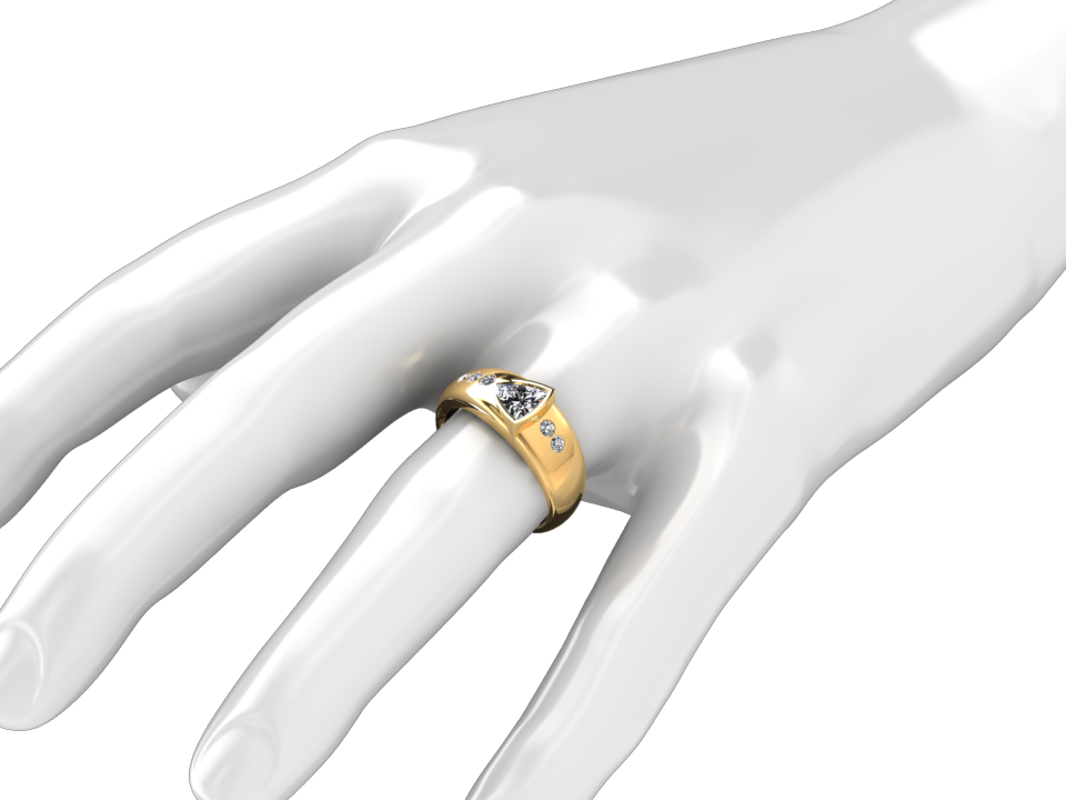1/2 CARAT TRILLION CUT DIAMOND RING IN 18K YELLOW GOLD RING STYLE#  TS4D18Y