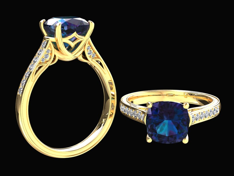 LAB GROWN 3.10 CARAT ALEXANDRITE AND NATURAL DIAMOND RING STYLE# CF8A14K