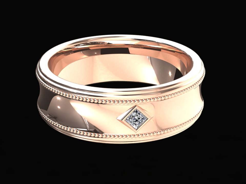VINTAGE STYLE 6MM BAND WITH PRINCESS CUT DIAMOND BAND SET IN 14K GOLD STYLE# WMB8D14K