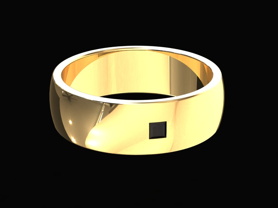 6MM MENS PRINCESS CUT BLACK DIAMOND BAND SET IN 14K GOLD STYLE# WMB3BKD14K