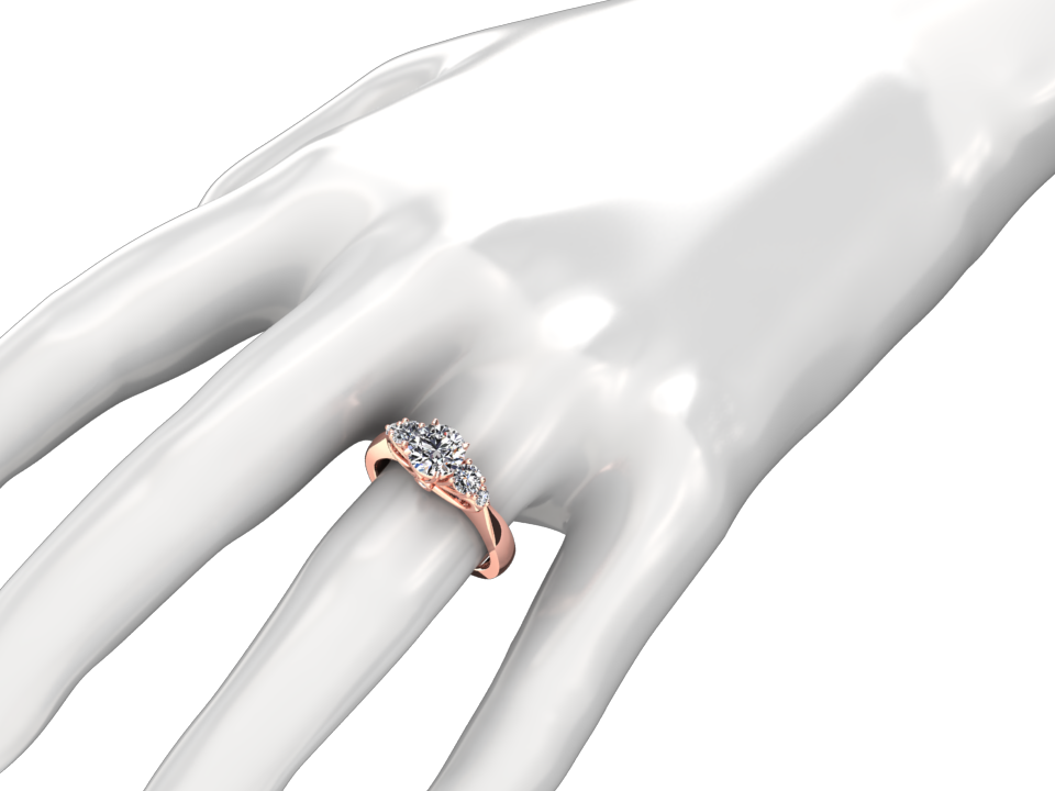 GIA CERTIFIED 1.00 CARAT DIAMOND CENTER FIVE STONE 18K ROSE GOLD RING STYLE# W36D18R