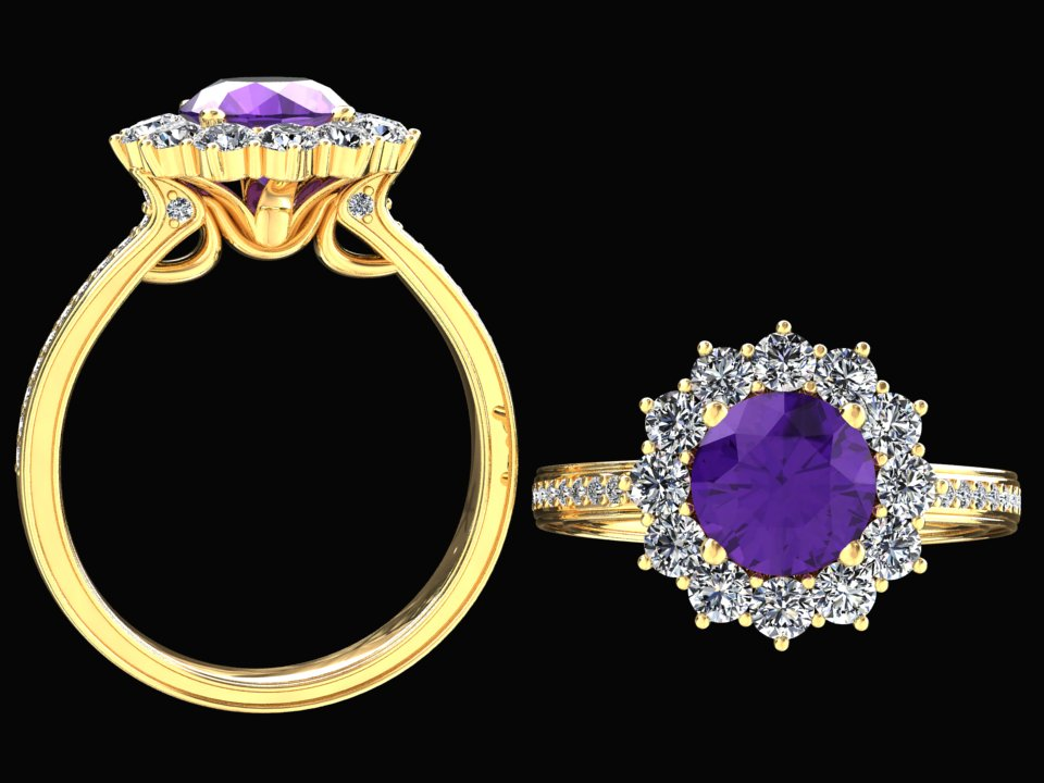 NATURAL AMETHYST AND DIAMOND HALO RING STYLE# WFJ7PU14K