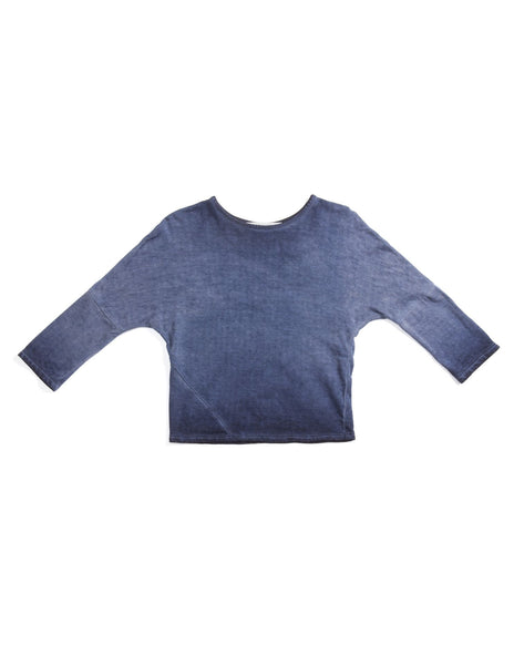 OmamiMini Denim Wash Long Sleeve Tee -Indigo