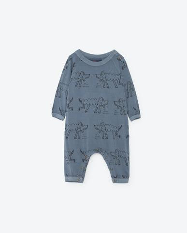The Animals Observatory Owl Onesie | Blue Bomar