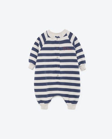 The Animals Observatory Sheep Baby Suit | White Blue Stripes [LAST ONE]