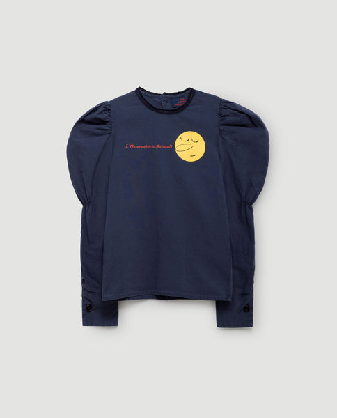 The Animals Observatory FW 17 Flamingo Shirt Long Sleeve - Deep Blue Face