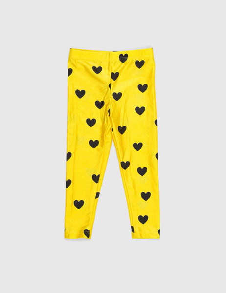 Mini Rodini Love Print Leggings Yellow
