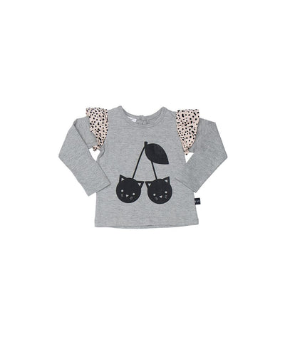 Huxbaby Grey Frill LS Top