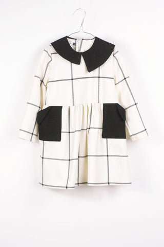 Motoreta   Yumiko Dress white & black grid