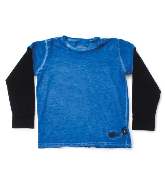 Nununu FW 17 Tiny Eye Patch Long Sleeve T-shirt- Dirty Blue