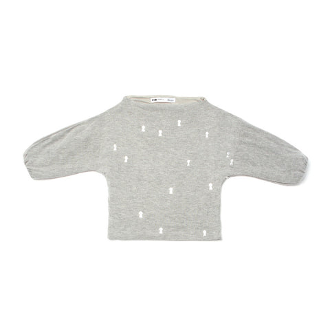 OMAMImini Dolman Sleeve Sweater with Silver Keyhole Print | Heather Grey