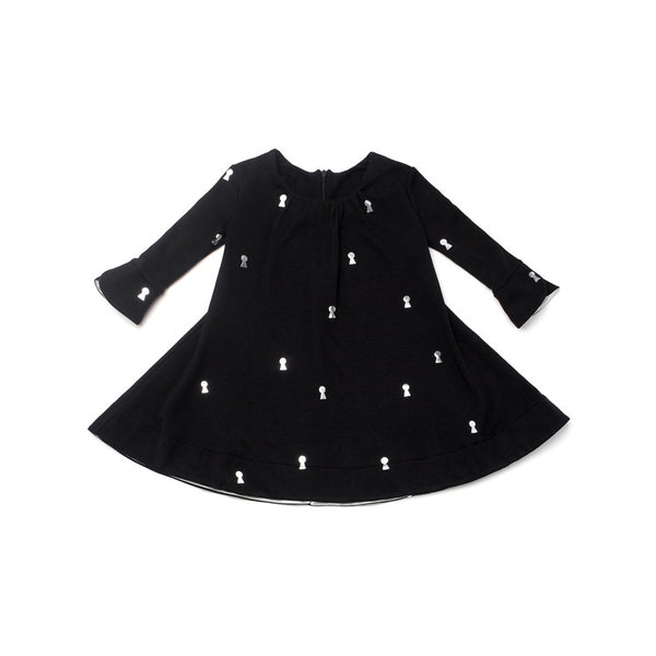 OMAMImini Tent Dress with Keyhole Print | Black