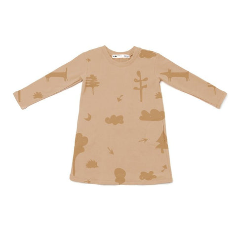 OMAMImini Sweatshirt Dress with Secret Forest Print | Camel
