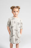 OMAMImini Sweatshirt Dress with Secret Forest Print | Light Grey