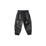 OMAMImini Faux Leather Joggers | Black