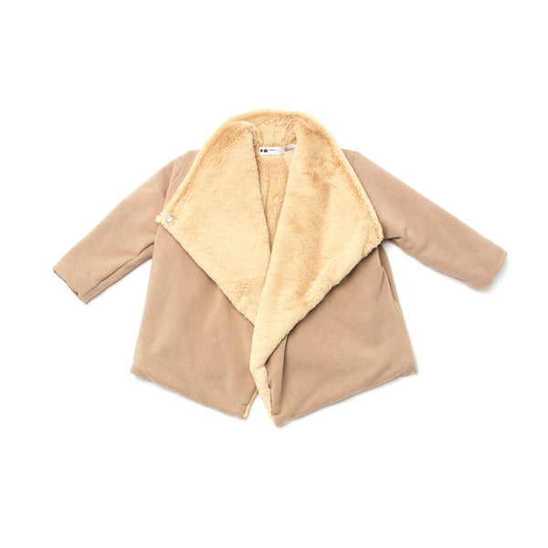 OMAMImini Draped Jacket with Faux Fur Lining | Camel