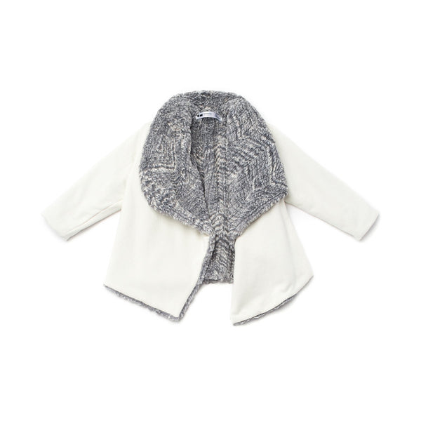 OMAMImini Draped Jacket with Faux Fur Lining | White & Grey