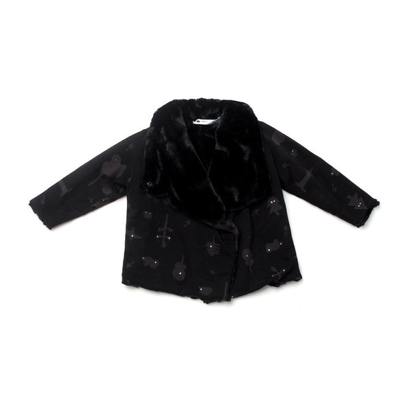 OMAMImini Draped Jacket with Faux Fur Lining | Black